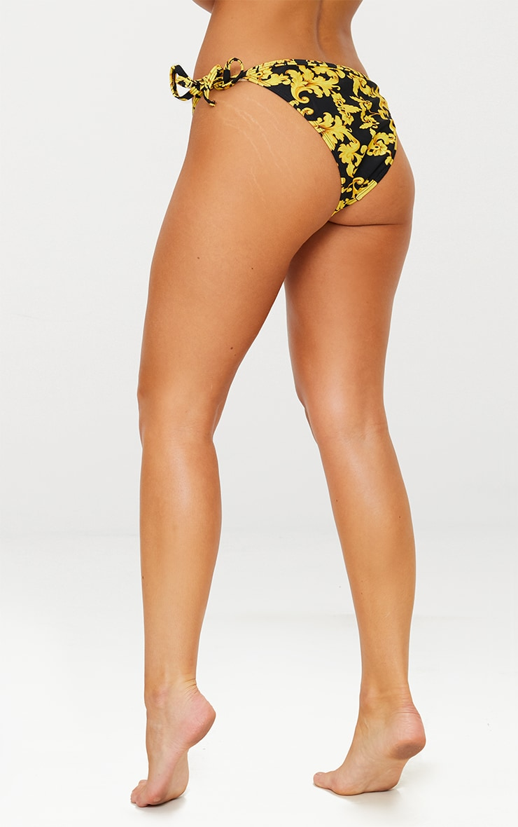 Black Chain Print Tie Side Bikini Bottom 4