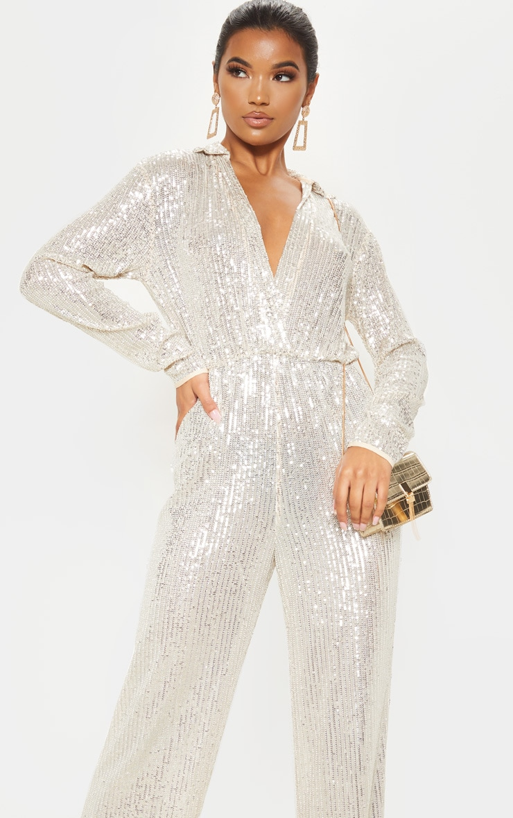 Silver Sequin Collar Detail Long Sleeve Jumpsuit 5