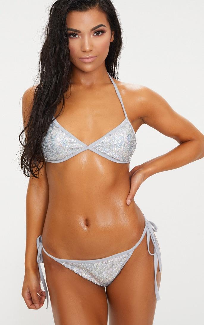 Silver sequin bikini