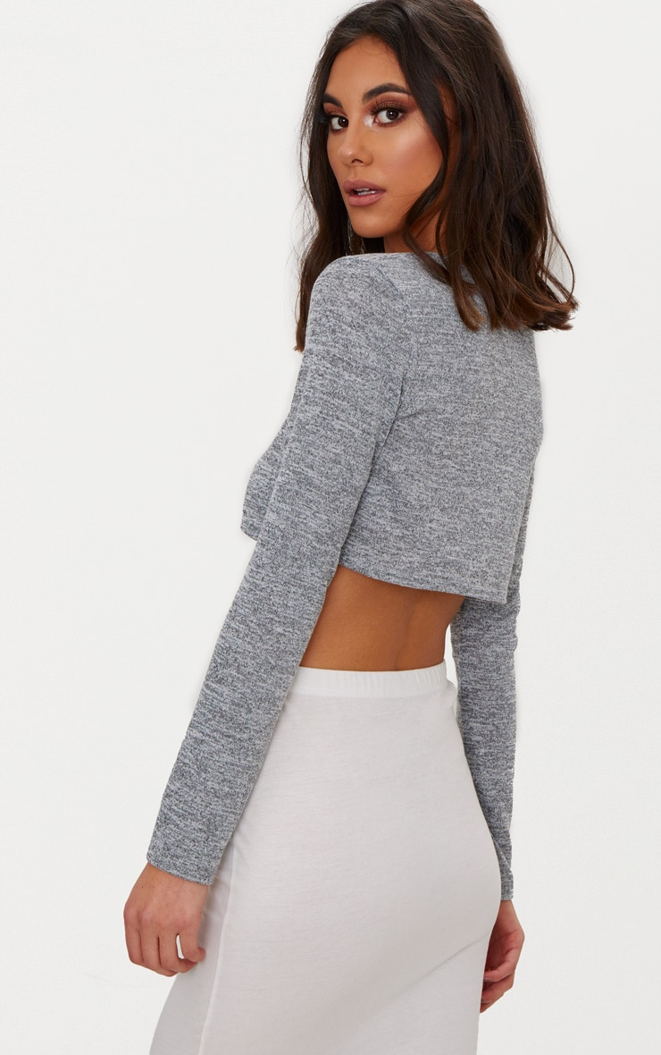 Grey Tie Front Knitted Top 2