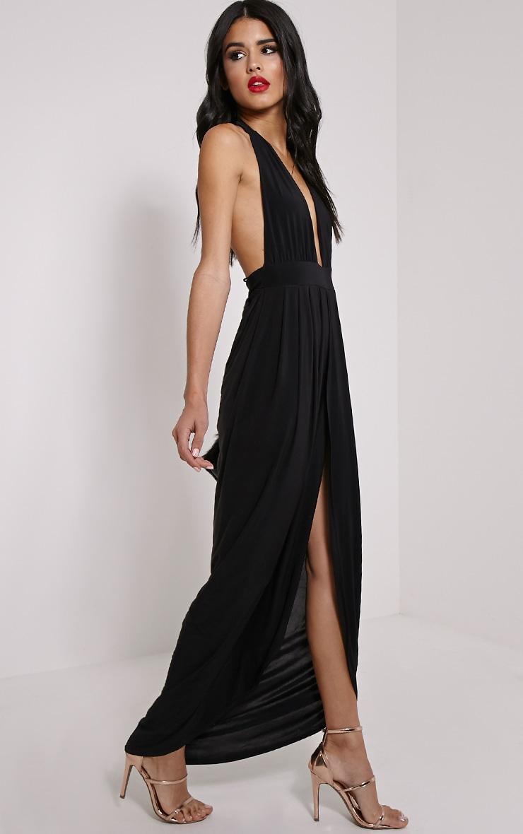 Biba Black Halterneck Slinky Maxi Dress 4