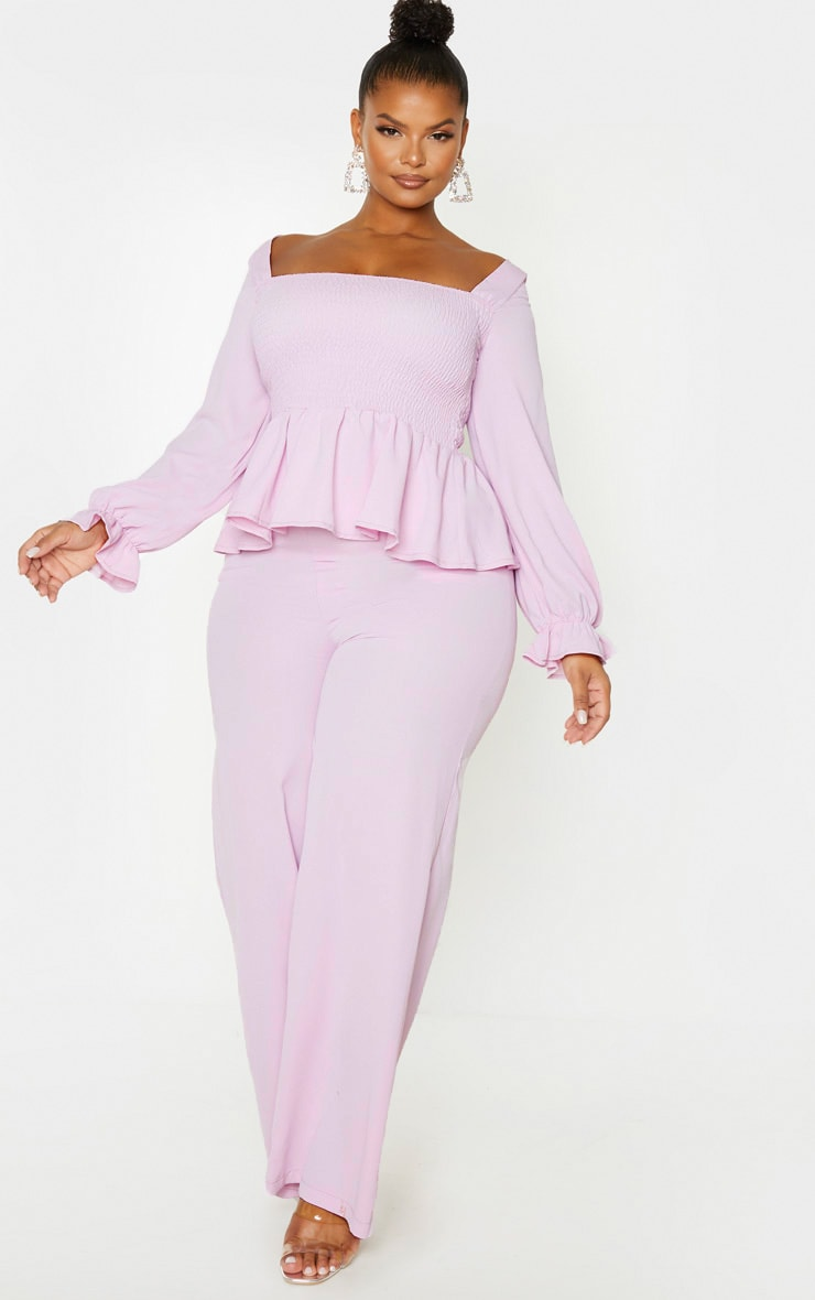 Plus Lilac Shirred Frill Detail Top 4