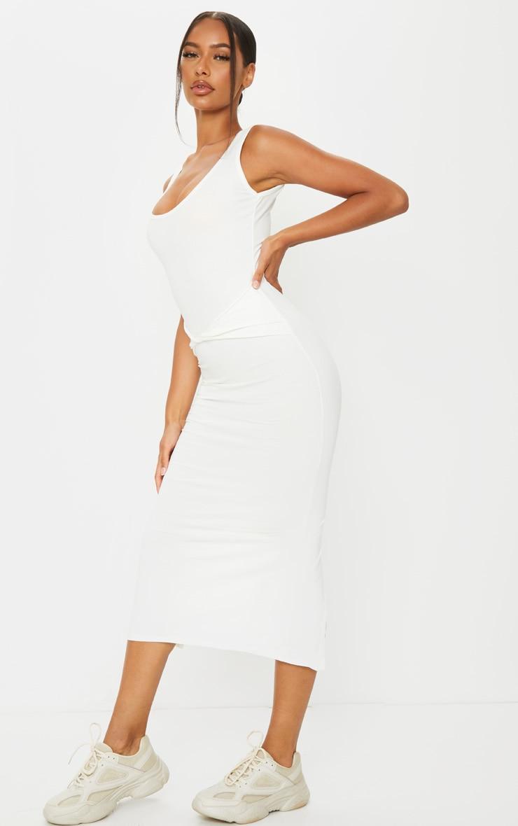 Cream Cotton Sleeveless Twist Waist Midi Dress 3