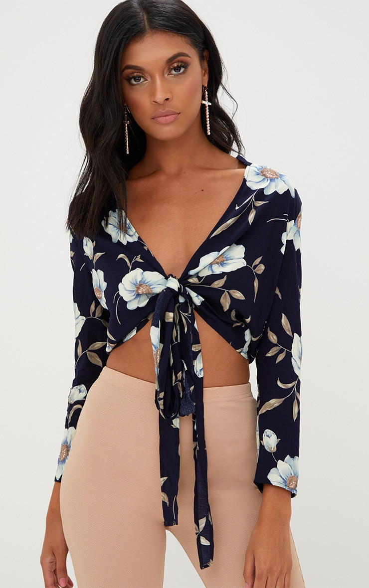 Blanche Navy Floral Print Tie Front Shirt  1
