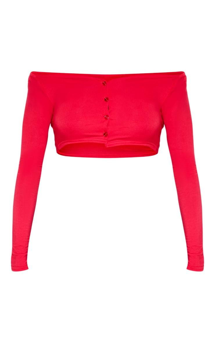 Crop top manches longues rouge en jersey à boutons et col bateau 3