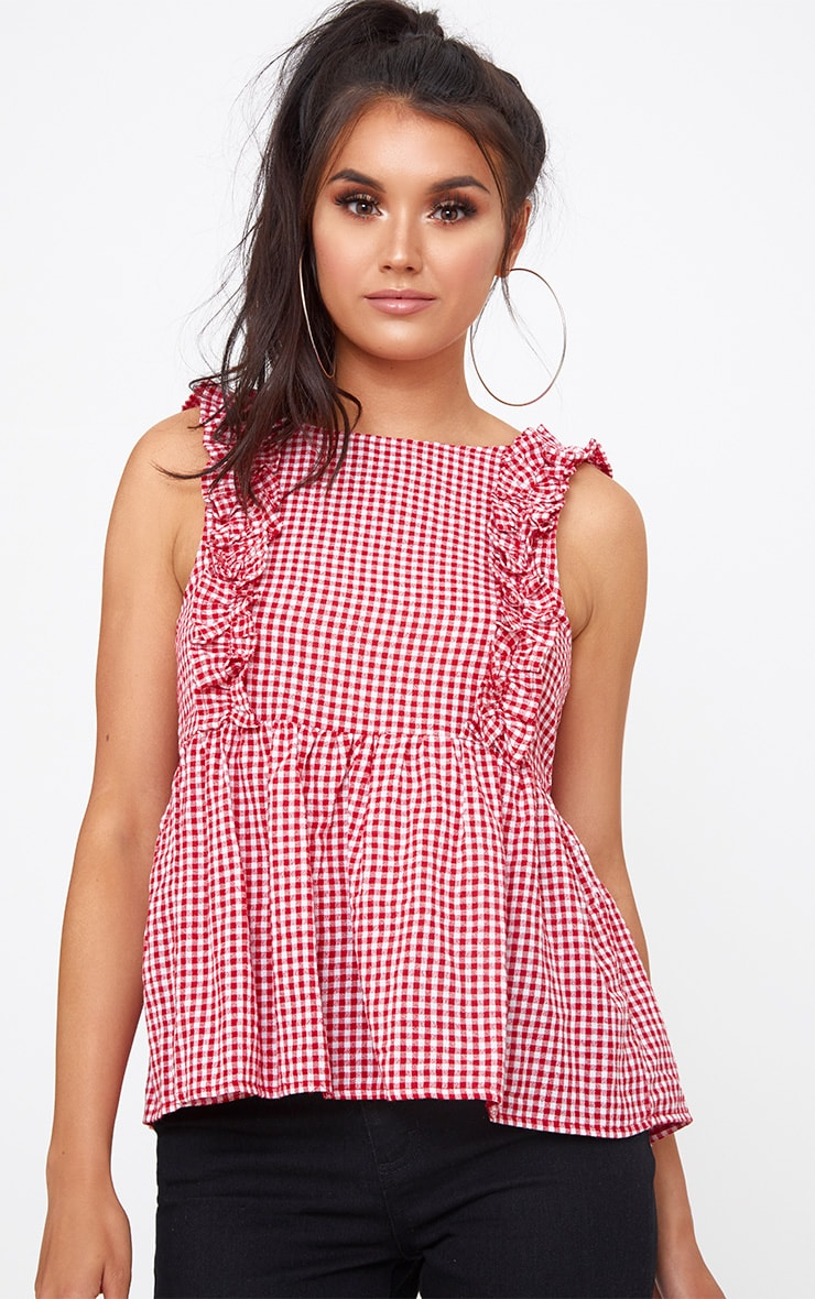 Red Gingham Frill Smock Top 1