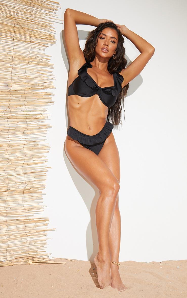 Black Frill Edge Underwired Bikini Top 3