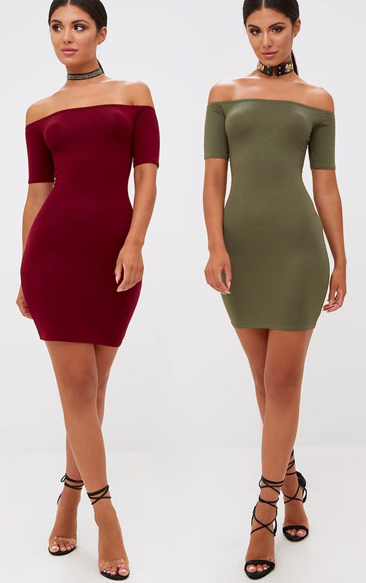 2 Pack Burgundy & Khaki Basic Bardot Bodycon Dress