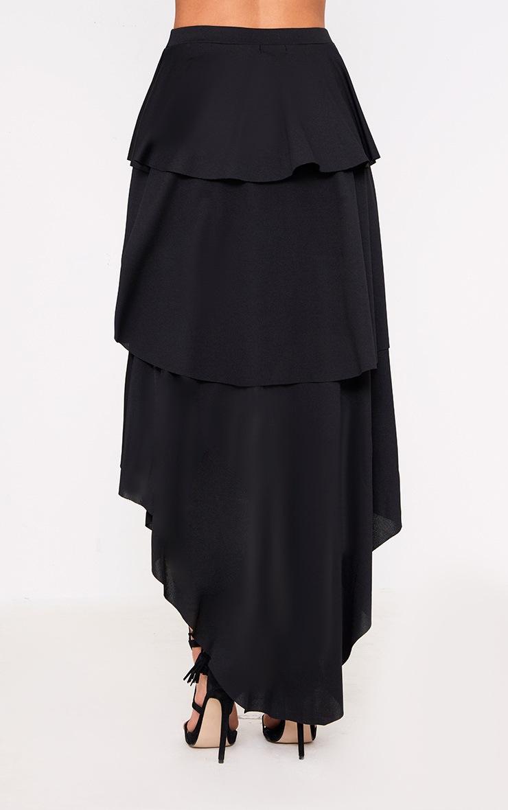 Black Hi Lo Tiered Maxi Skirt 4