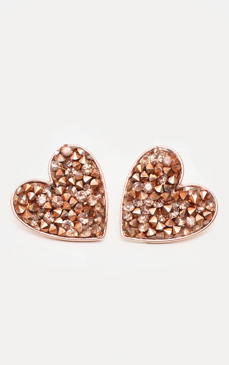 Rose Gold Crystal Cluster Heart Earring 1