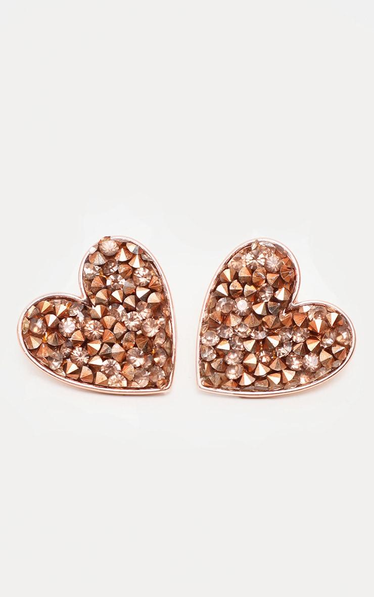 Boucles d'oreilles en forme de coeur rose gold à cristaux 1