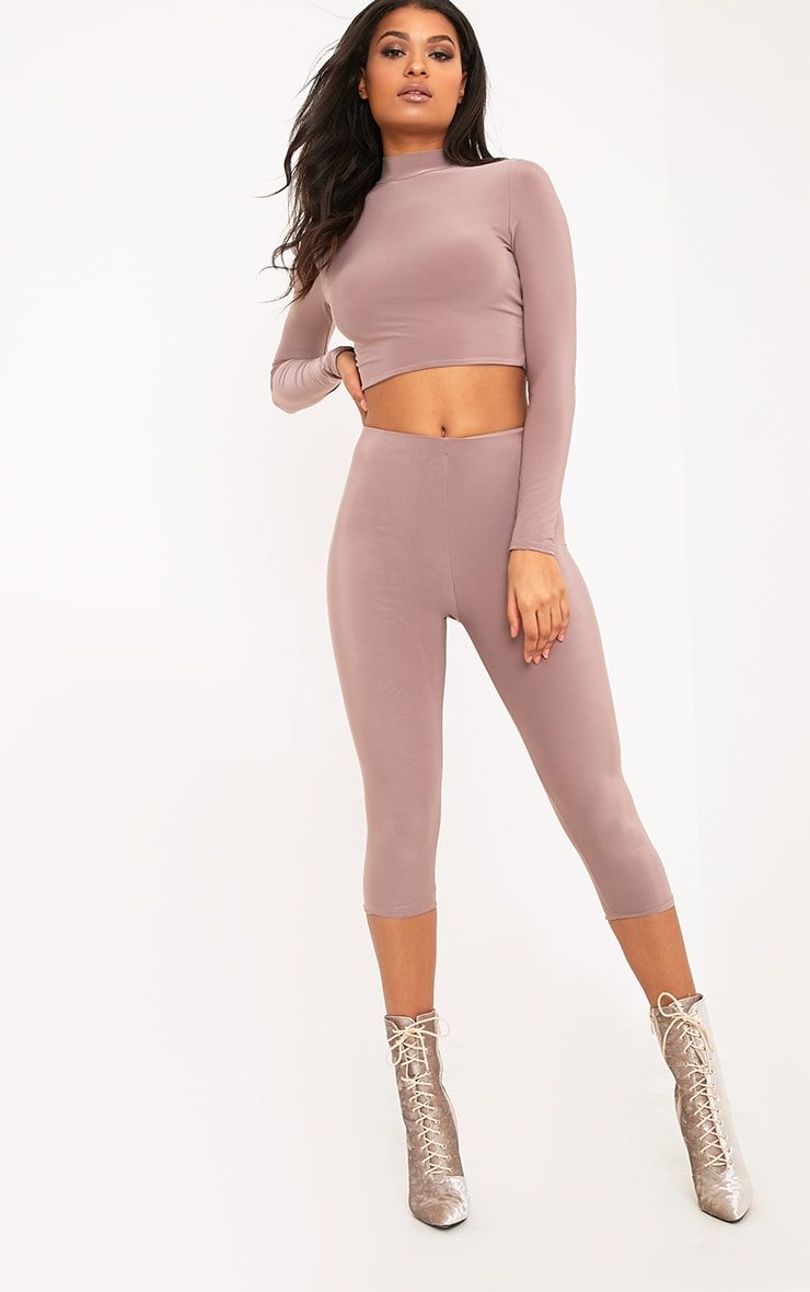 Rio Truffle Slinky Cropped Leggings 1