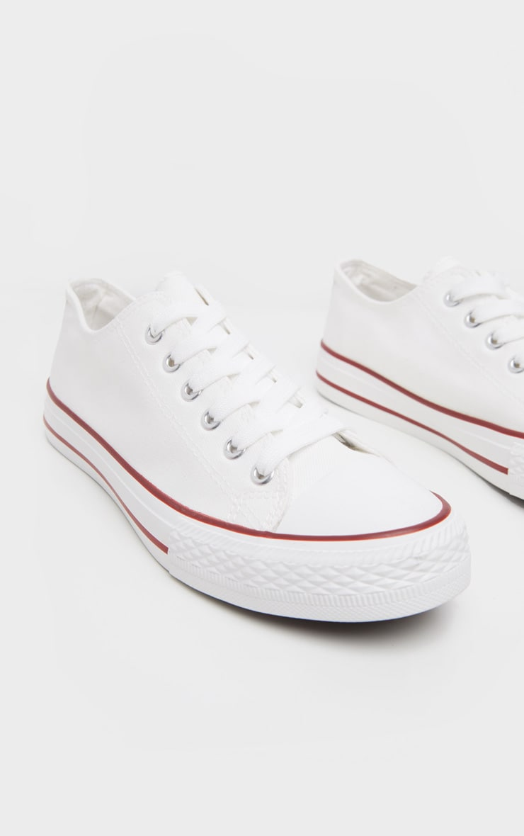 White Stripe Lace Up Canvas Sneakers  1