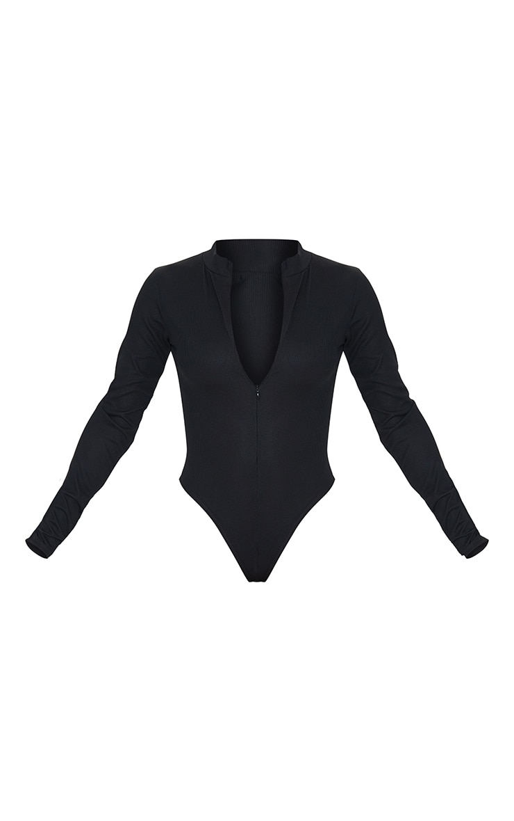 Black Rib Zip Up Long Sleeve Bodysuit 5