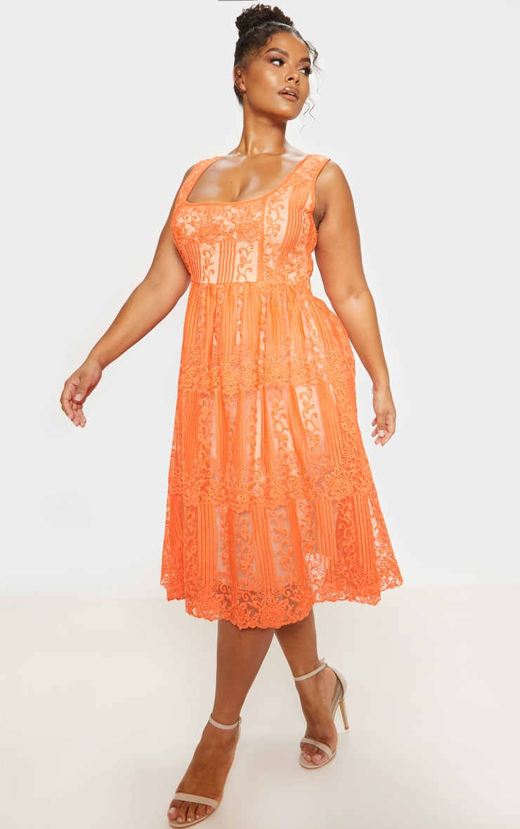 Orange Lace Square Neck Midi Dress 5