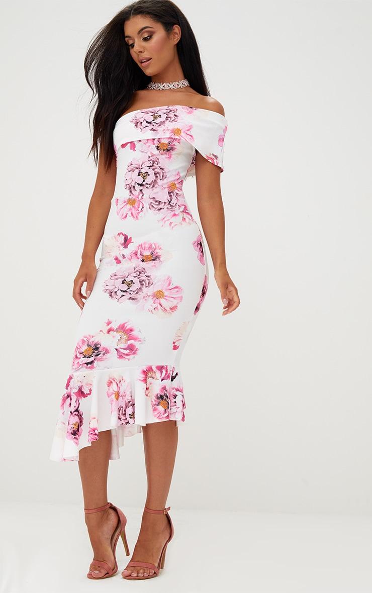 White Floral Asymmetric Bardot Frill Detail Midi Dress 4