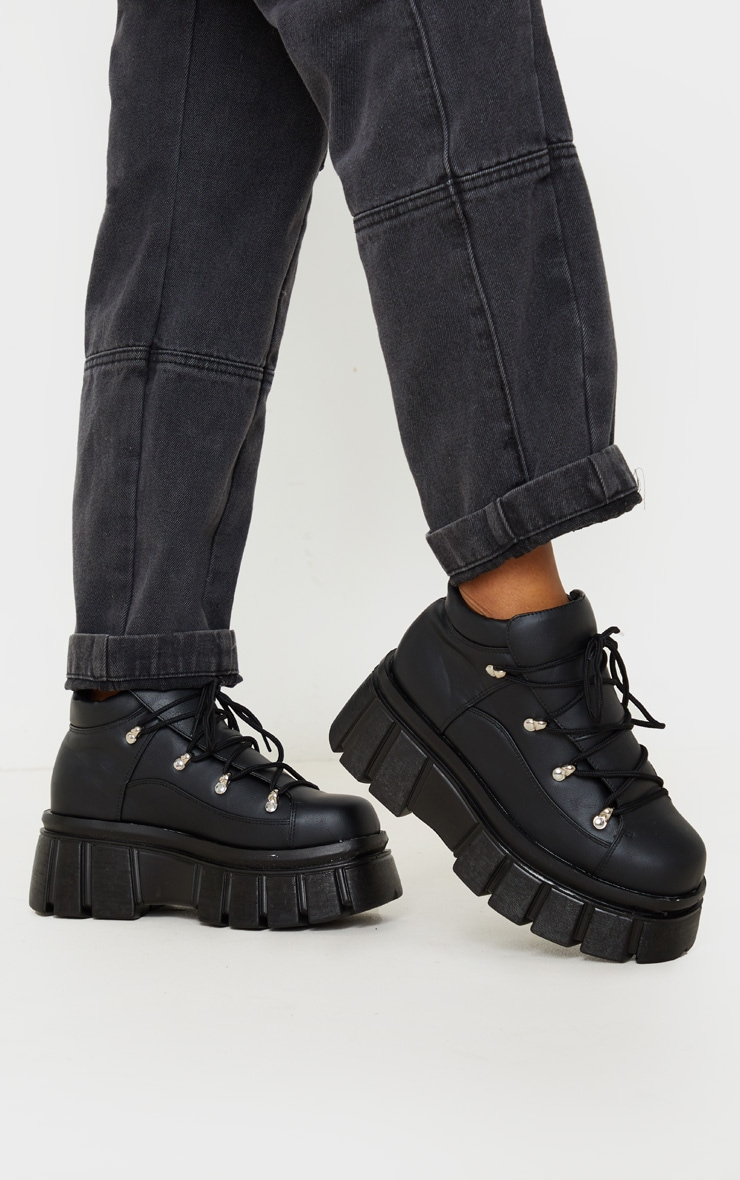 Black Extreme Flatform Chunky Sole Ankle Boot 2