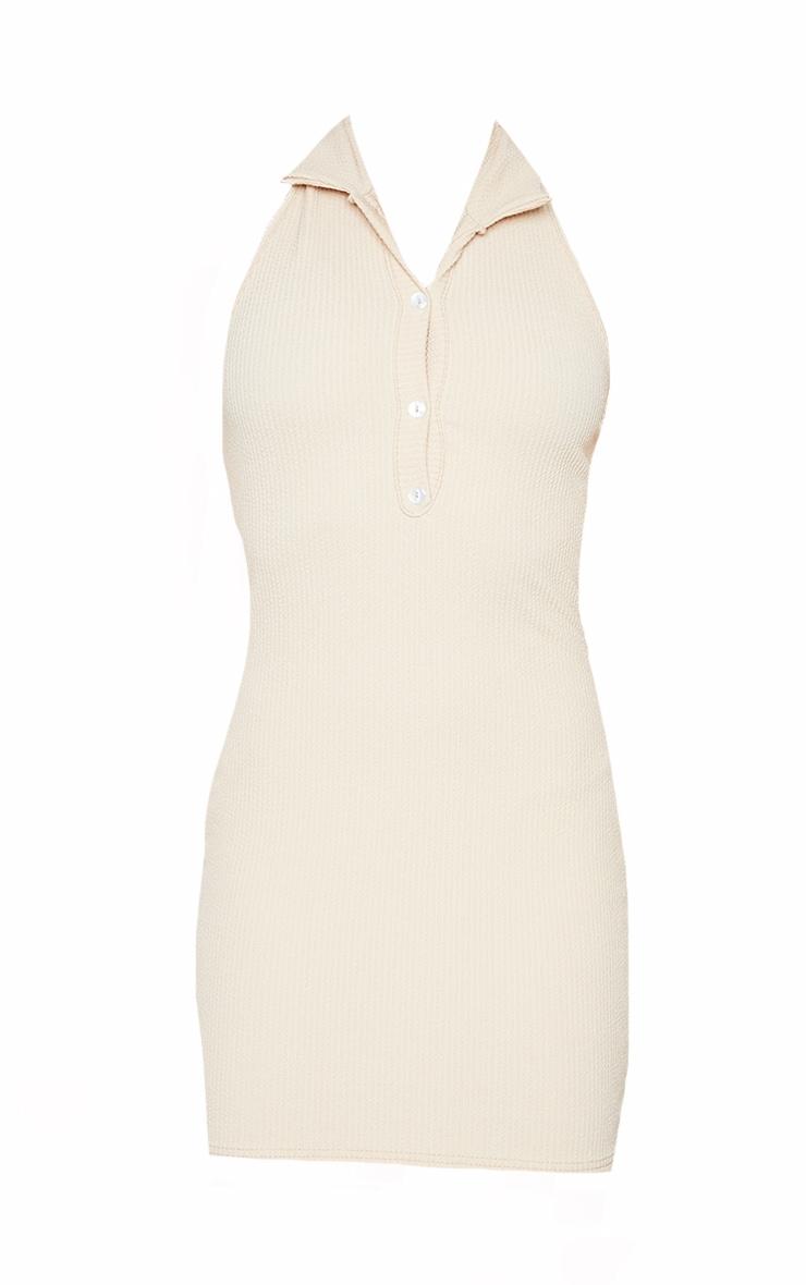 Stone Rib Halterneck Button Detail Bodycon Dress 5