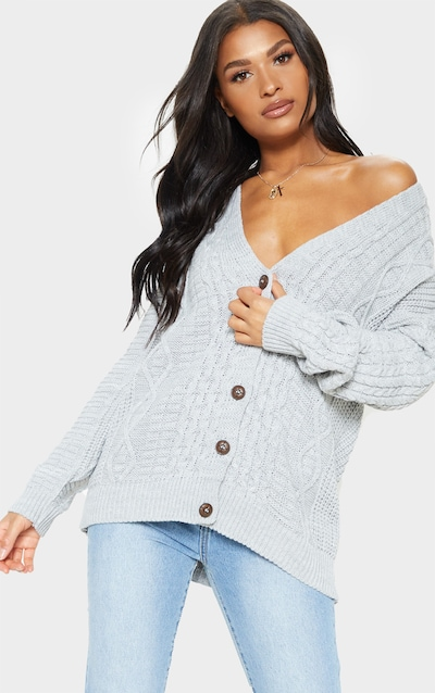76f74824f5a Grey Oversized Cable Knit Cardigan