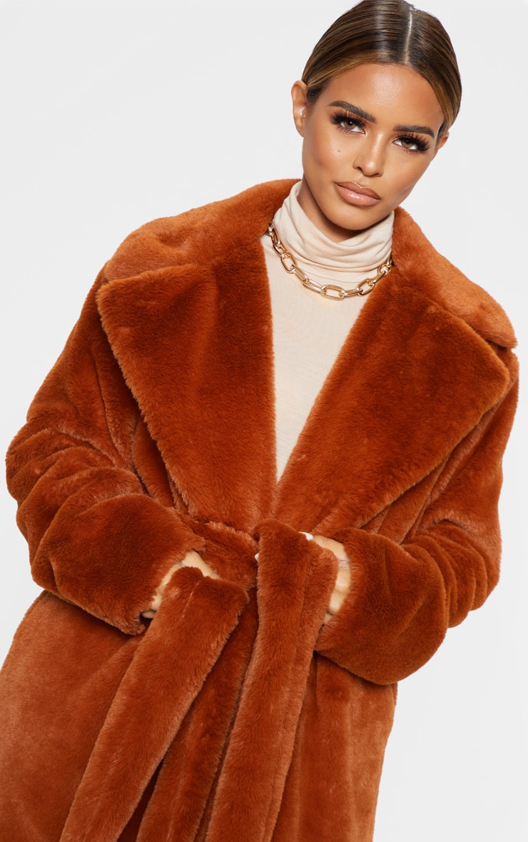 Petite Brown Belted Faux Fur Coat 5