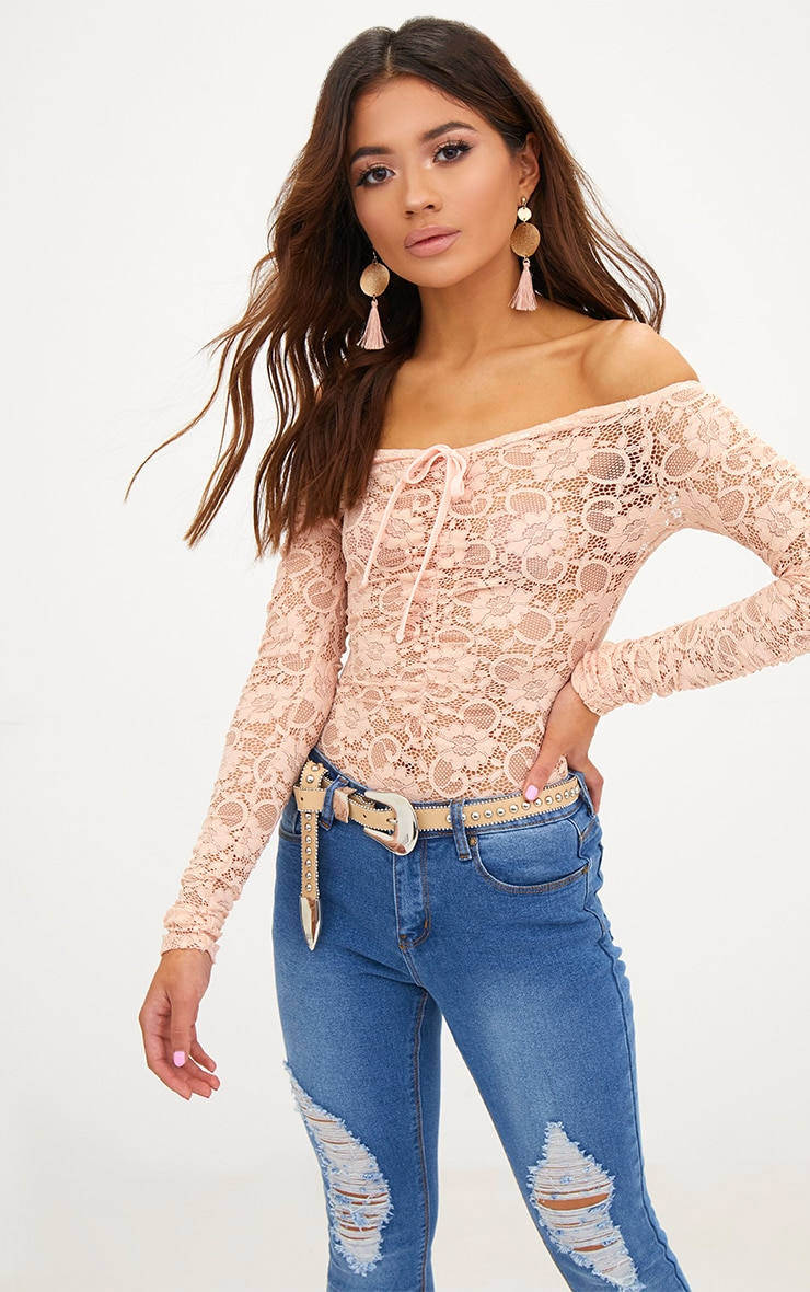 Petite Nude Lace Ruched Sleeve Bodysuit 2