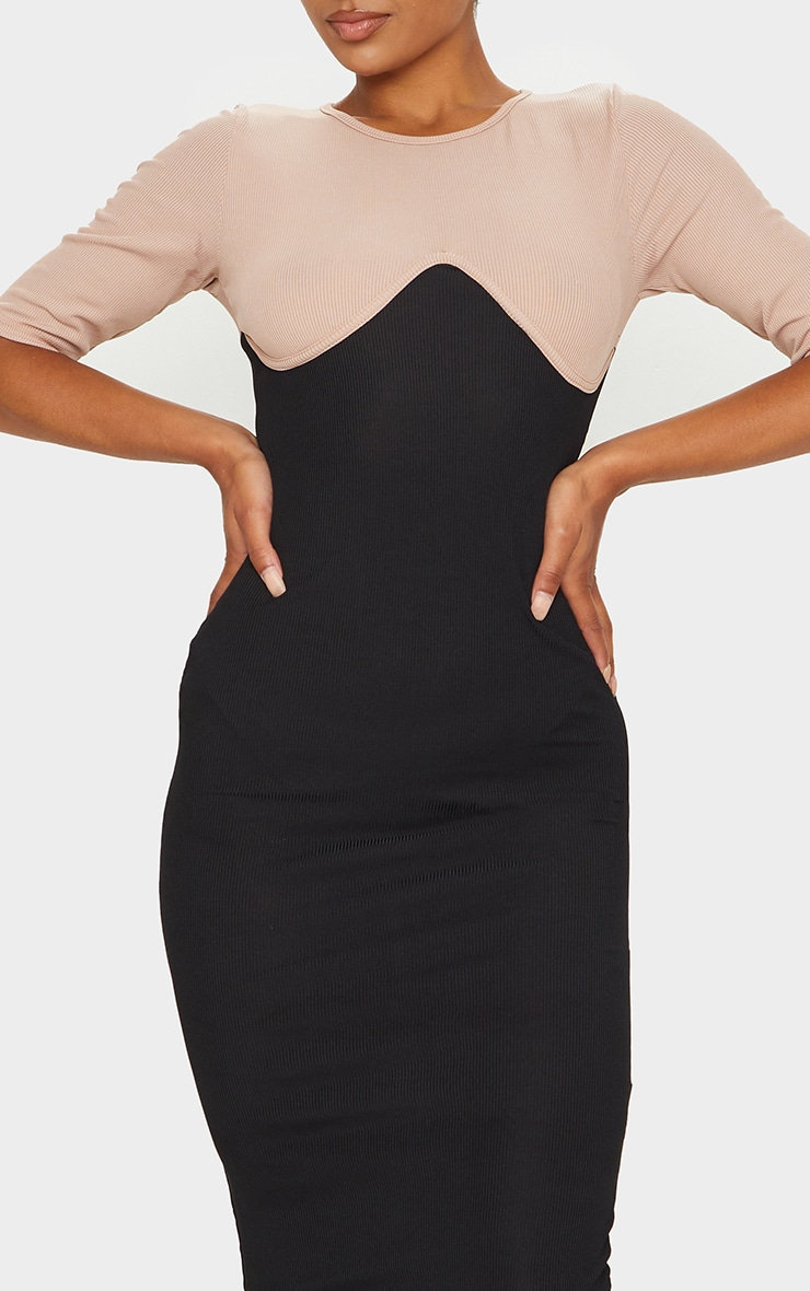 Black Rib Contrast Bust Detail Midi Dress 3