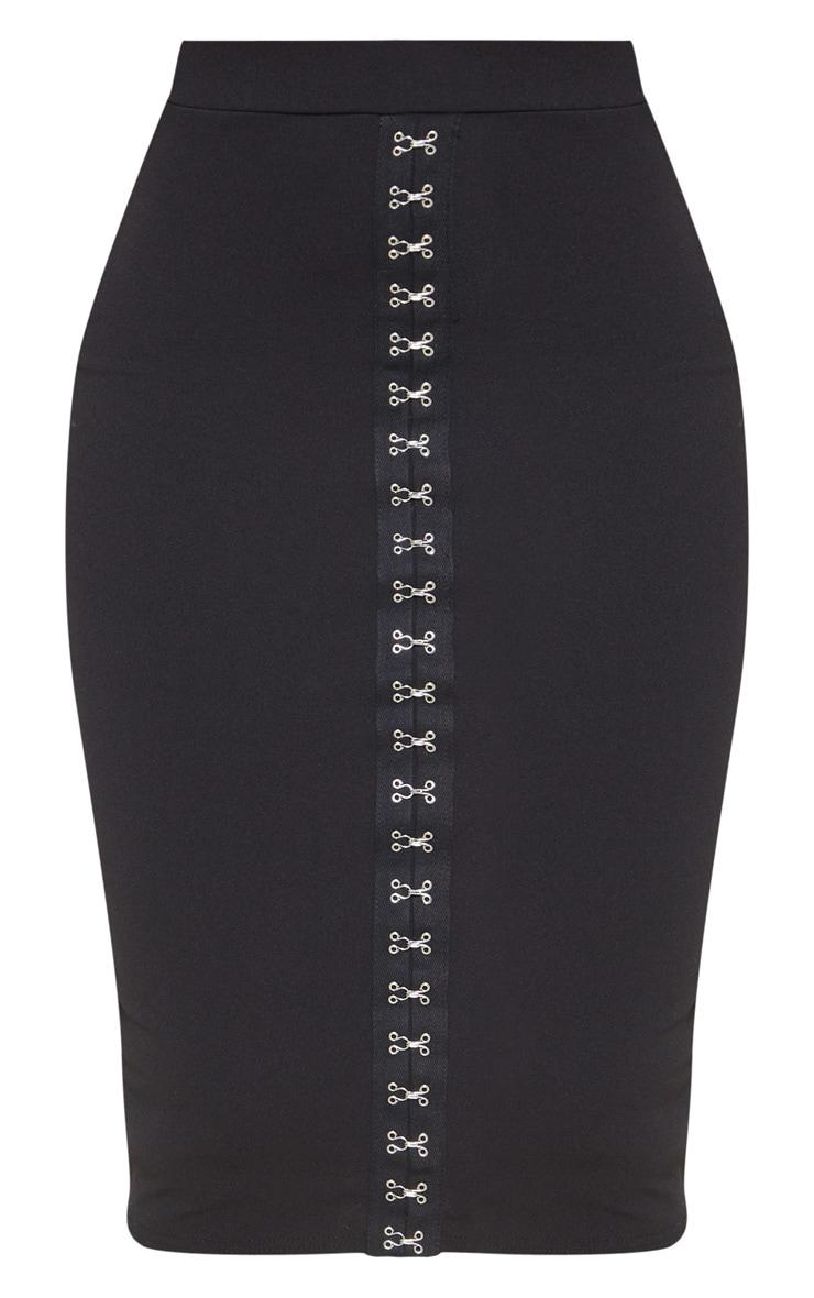Jupe mi-longue noire à détail oeillets et lacets 3