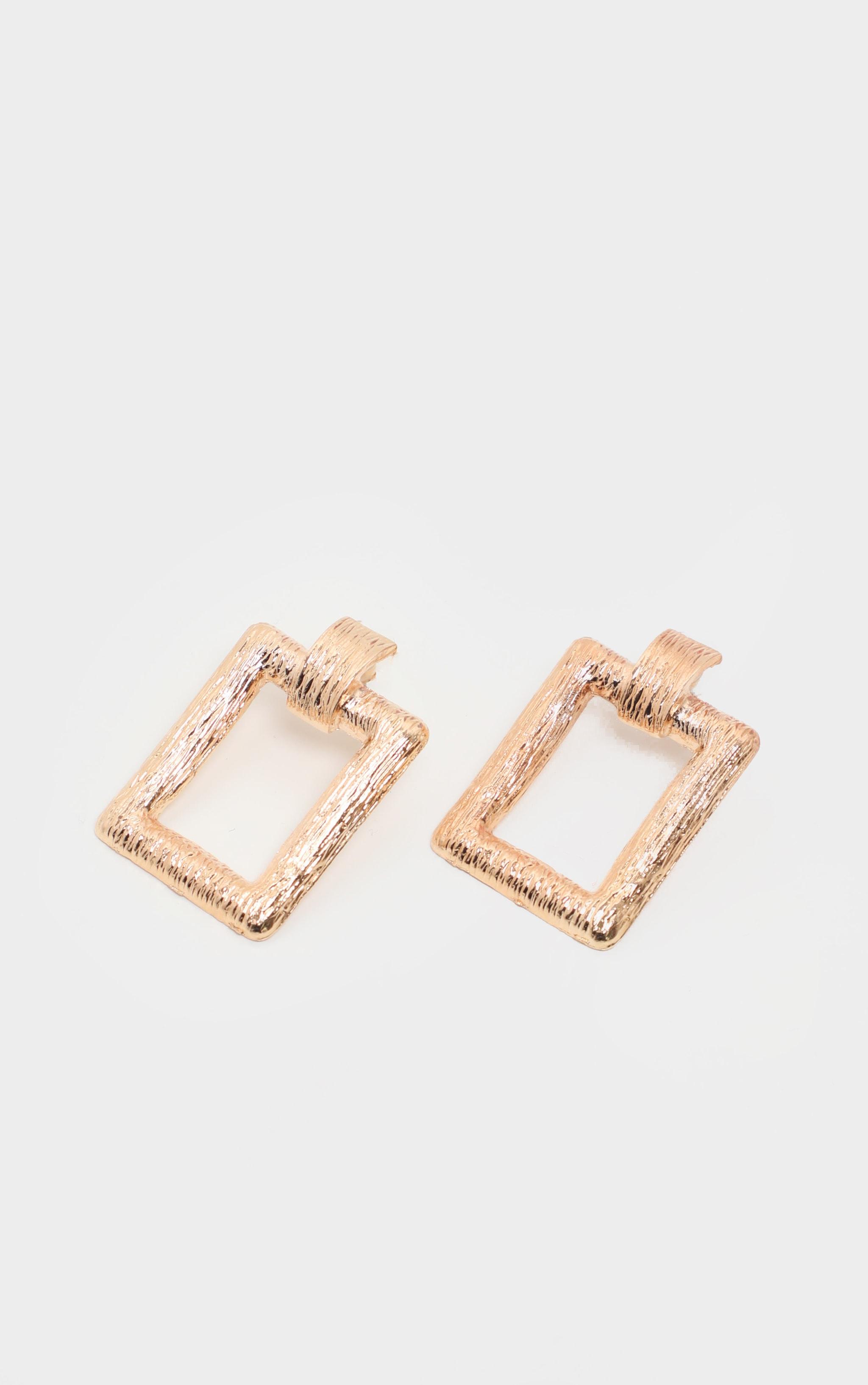 Gold scratch Effect Rectangle Door knocker Earrings   2