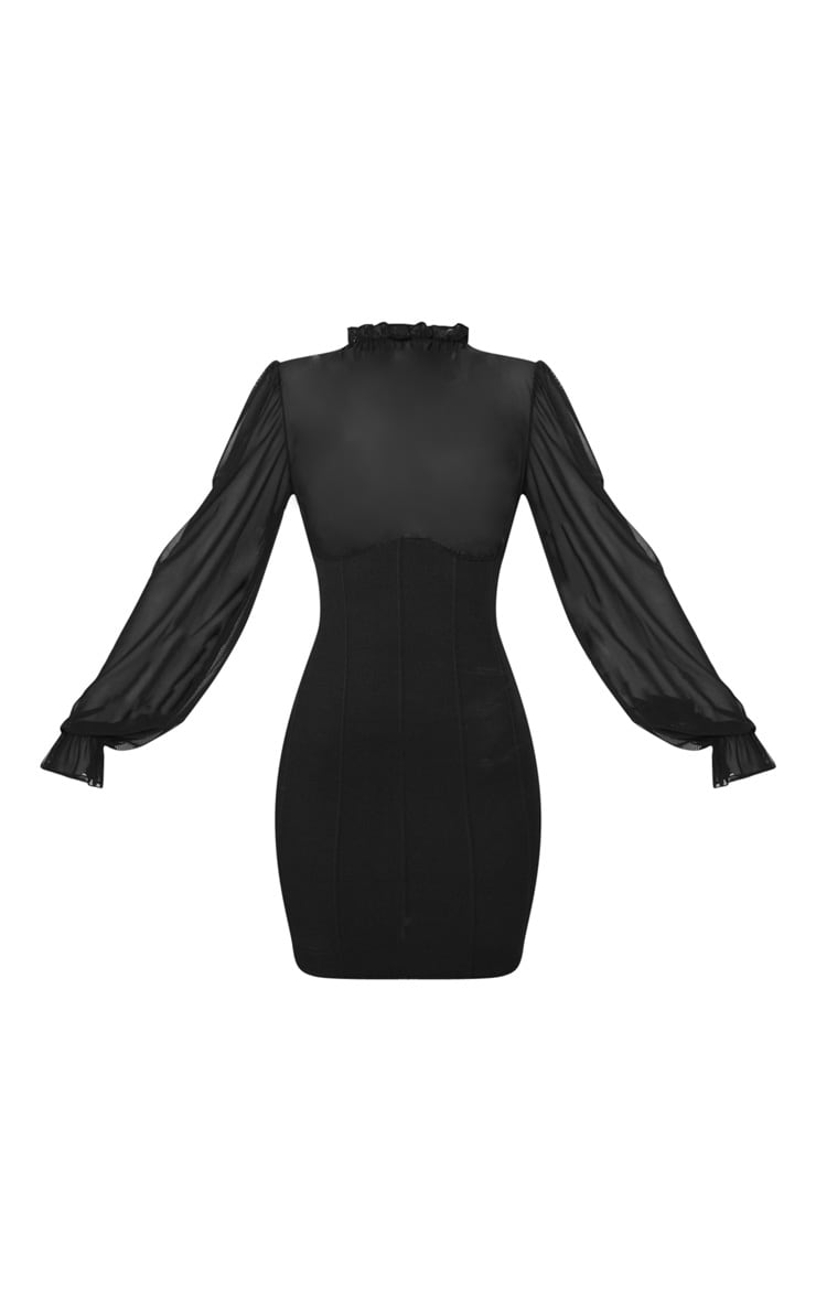 Black Bandage Mesh Bodice High Neck Bodycon Dress 1