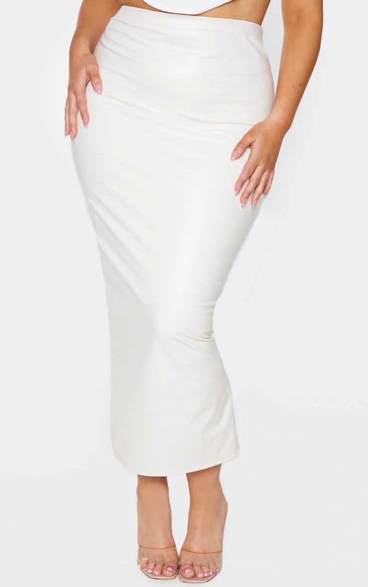 Plus Cream PU Split Back Midaxi Skirt 2