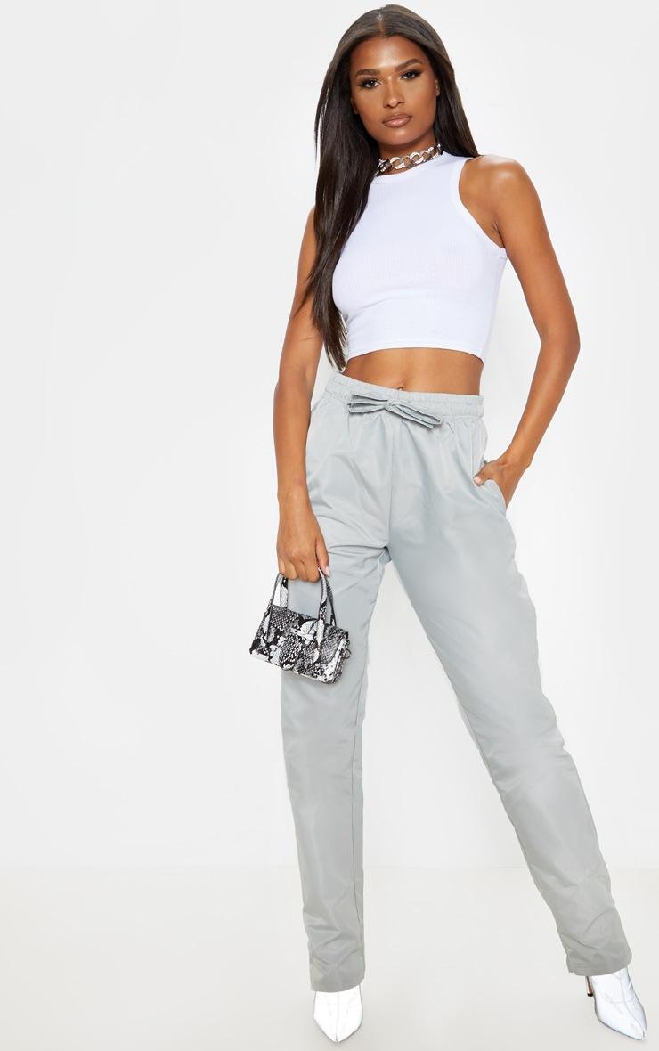 Grey Shell Cuff Straight Leg Pants 1