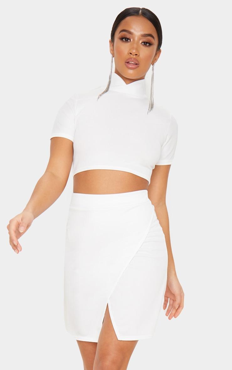 Petite Cream Crepe Oriental Wrap Skirt 1