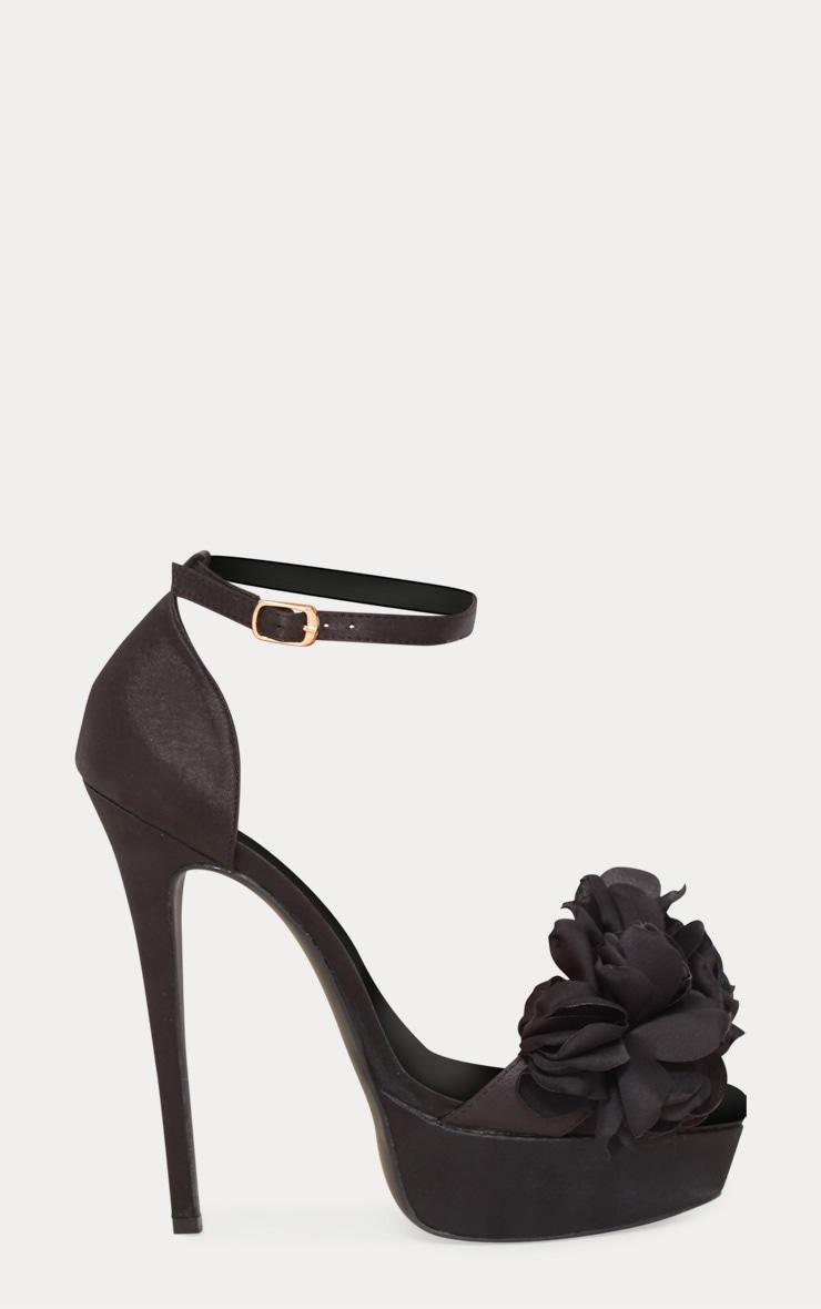 Black Ruffle Flower Platform Heels 3