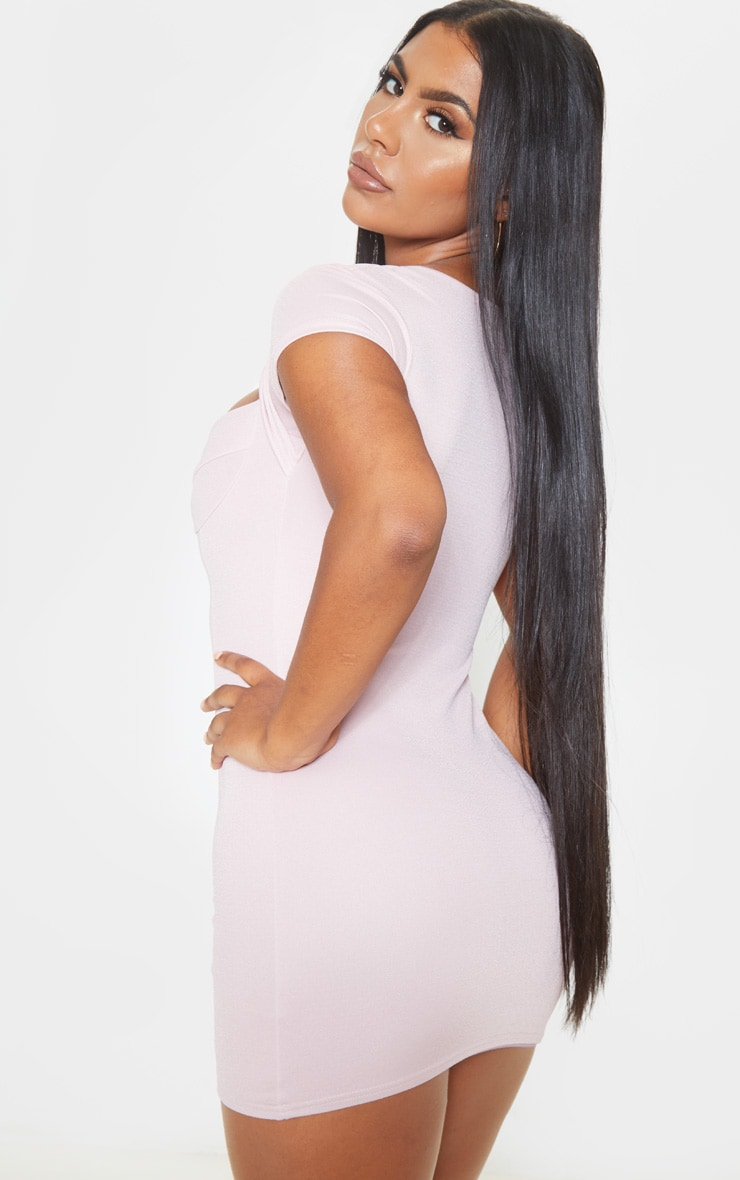 Dusty Lilac Short Sleeve Cup Detail Binding Bodycon Dress 2