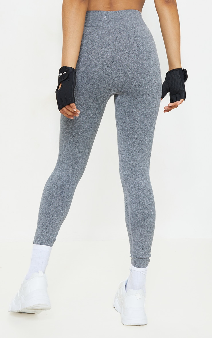 Grey Marl Seamless Rib Waist Gym Leggings 3