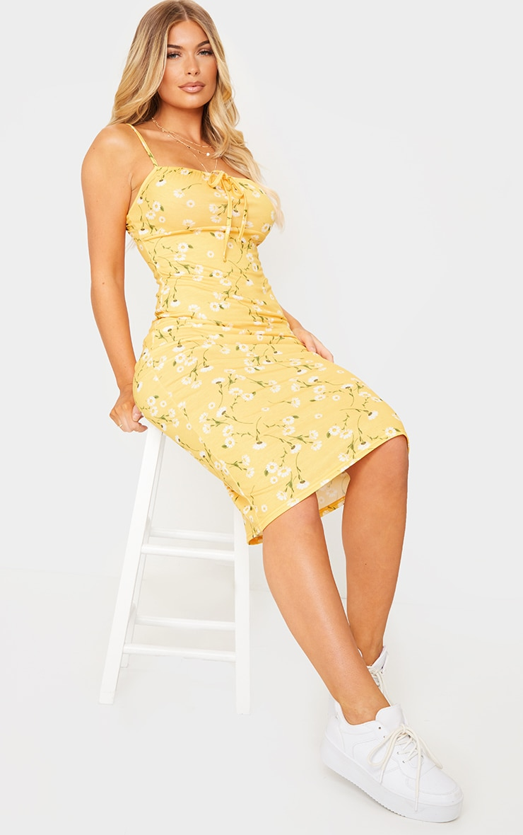 Yellow Floral Print Strappy Tie Front Midi Dress 3