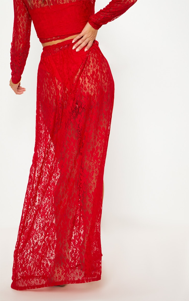 Red Lace Tie Side Maxi Beach Skirt 4