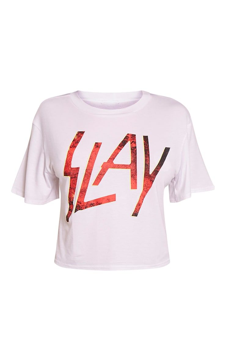 Slay White Slogan Cropped T-Shirt 3
