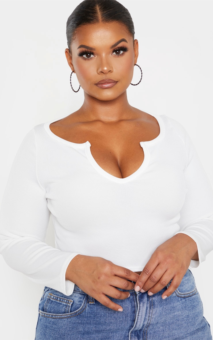 Plus White V Neck Long Sleeve Crop Top  5