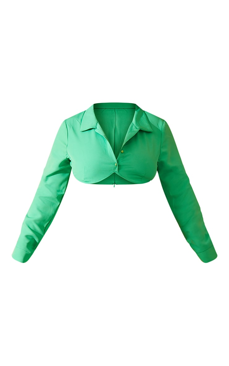 Plus Bright Green Woven Button Front Underbust Detail Cropped Shirt 5