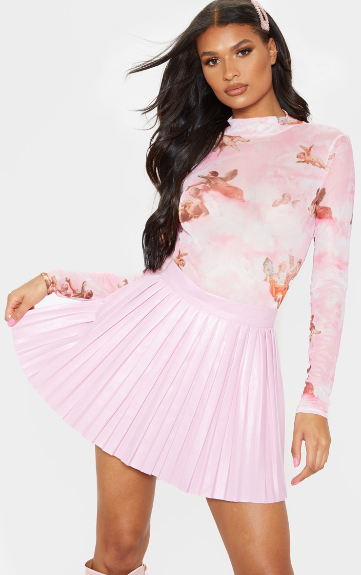 Pale Pink Faux Leather Pleated Skater Skirt  1