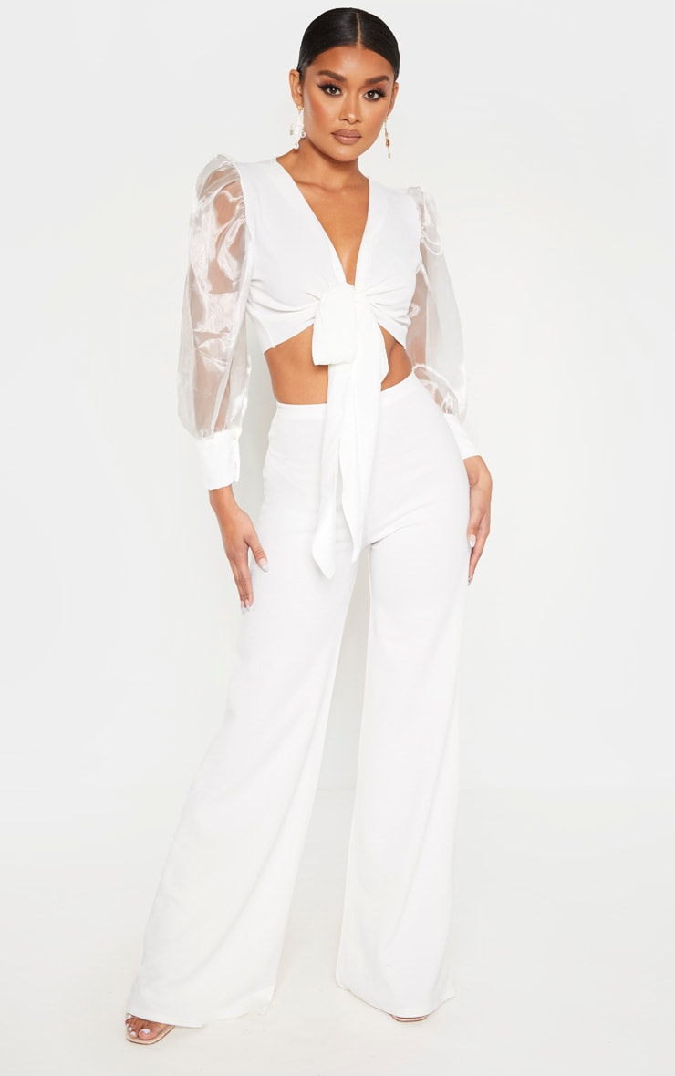 White Sheer Puff Sleeve Tie Front Shirt 4