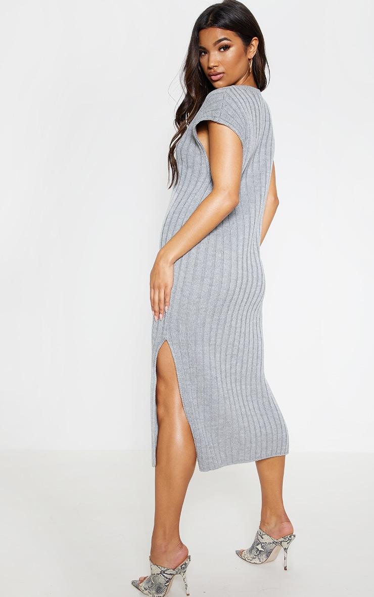 Grey Ribbed V Neck Midi Knitted Dress 3