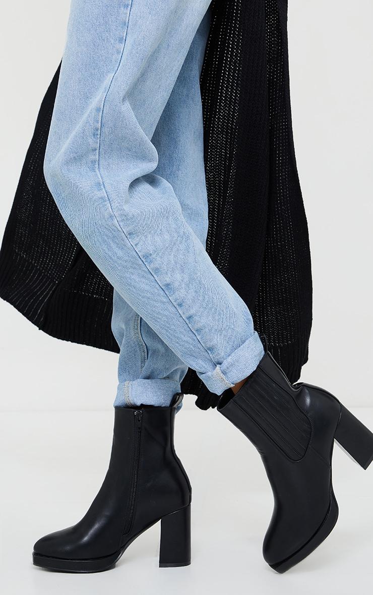 Black Slight Platform Chelsea Basic Heeled Ankle Boots 2
