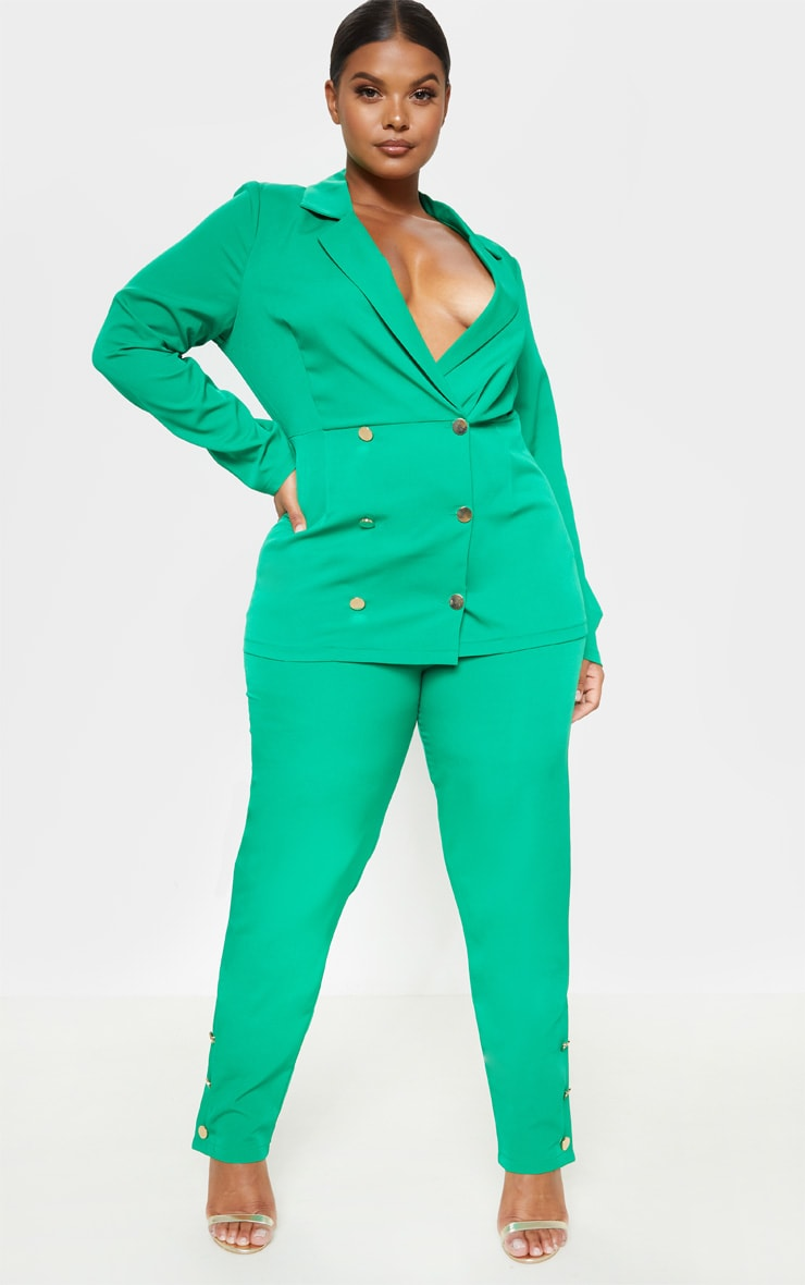 Plus Bright Green Gold Button Detail Straight Leg Trouser 4