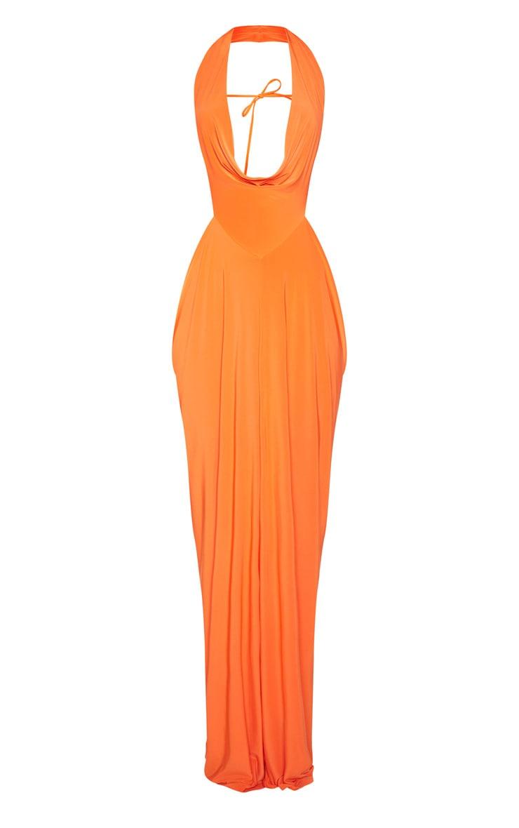 Bright Orange Extreme Cowl Maxi Dress 3