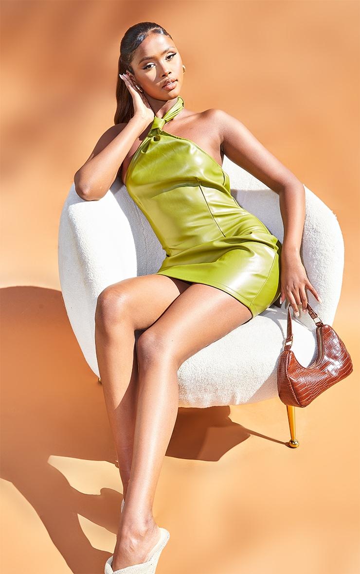 Olive Pu Halterneck Knotted Bodycon Dress 1