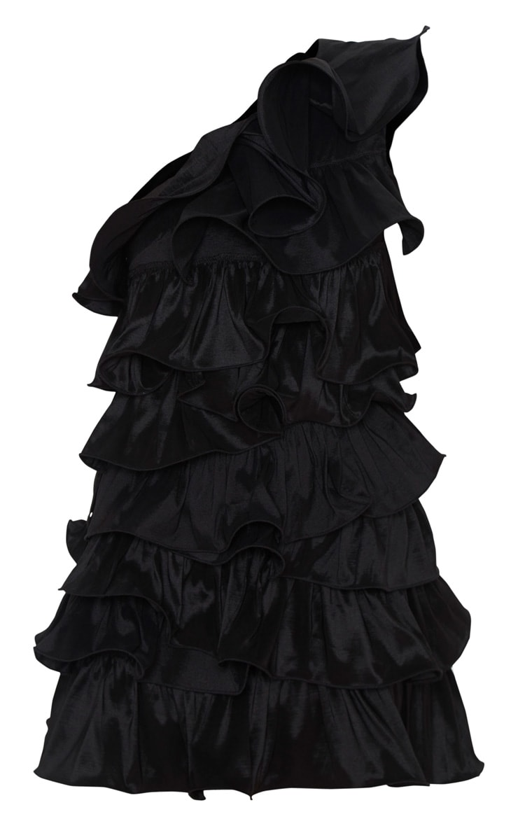Black One Shoulder Tiered Frill Shift Dress 5