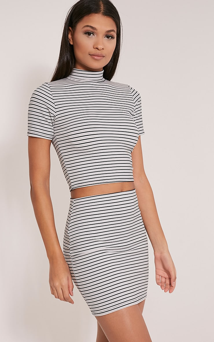 Leoni White Stripe Crop Top 4