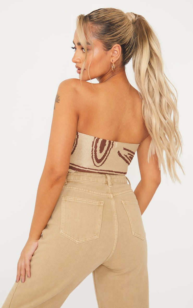 Petite Stone Knitted Swirl Ruched Bralet 2